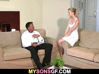 Hung dad fucks son's blonde girlfriend