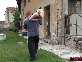 Beautiful blonde babe taken tied and fucked like a slave