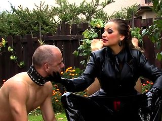 Slutty female domination fetish with babe getting licked