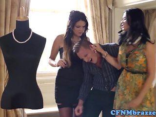 British CFNM femdom babes trio with voyeur