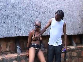 Kinky African couple fucks hard in their backyard