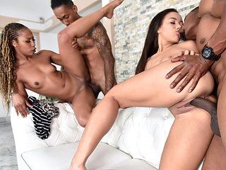 Ebony Misty and Adriana in a hot foursome fuck