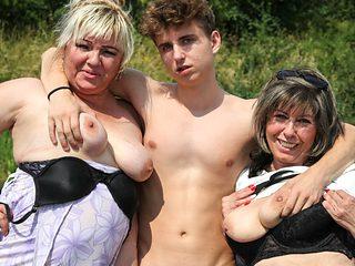 Horny Grandmas Take Hitchhiker for a Ride