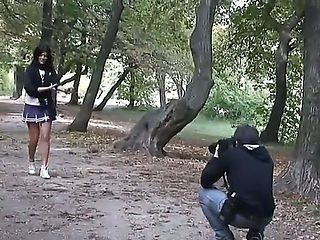 Beautiful schoolgirl Madison Parke, walking in the park meets two handsome guys and decide to go ...