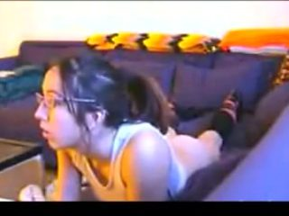 Nerdy girl gets assfucked while playing playstation