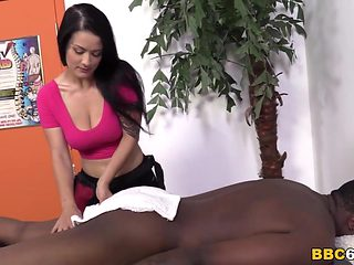 Katrina Jade Gets BBC On A Massage Table