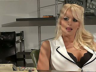 Heavy chested golden haired hottie Stormy Daniels in provocative blouse gets into her office and ...