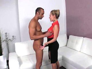 Nerveous actrice testing big guy