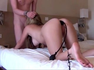 Blonde whore anal play and cum swallow