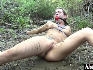 Tattooed Dahlia gets tied up outdoors