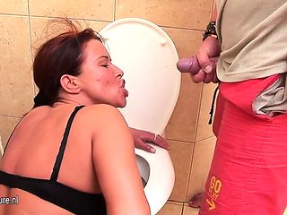 Mature toilet babe pissing and gag Nanci from dates25com