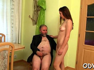 Large titted gets licked by old guy and rides him