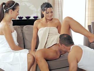 Naughty threesome sex at the spa with two girls