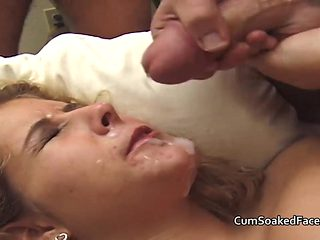 Amateur MILF cock sucking and bukkake