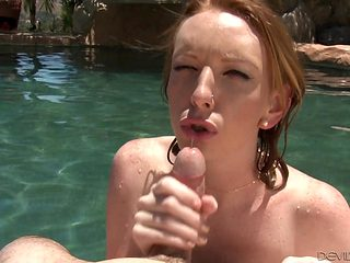 Redhead is in heaven eating guys sturdy dick