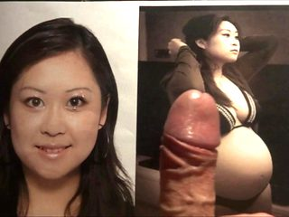 Cum tribute on pregnant asian Jacqui