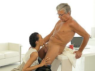 OLD4K. Sweet secretary Liliane caresses boss after hard day