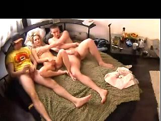 Threesome sex on webcam
