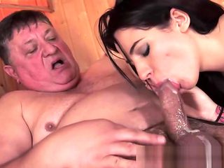 Teen cummed by old man