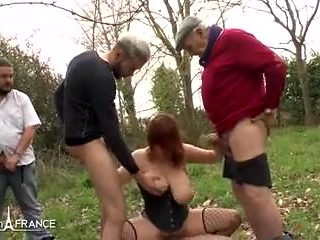Big boobed french amateur slut analyzed n gangbanged outdoor