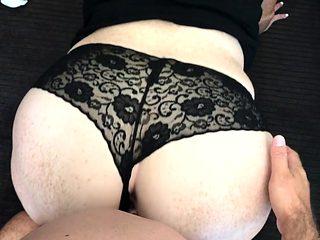 Sexy black panties fuck and creampie