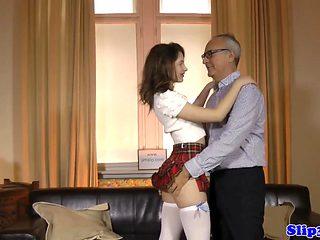British schoolgirl cocksucks and rides oldman