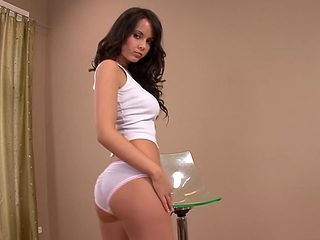 Gorgeous brunette touches herself