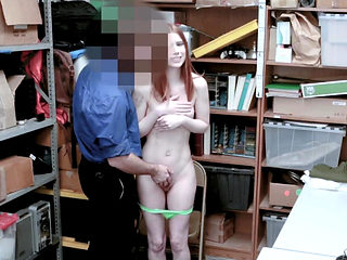 Protesting redhead's cunt gets expanded by mall cop's cock