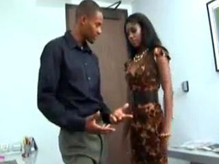 Hot black milf fucks in the office