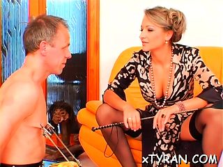 Nasty mistress sucks slave's hard penis and rides him rough