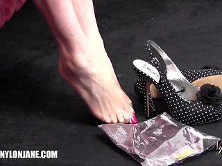 Watch Hot Milf Slip Sexy Long Legs Inside Pair Of Silky Nylon Stockings And Delicate Feet In Heels