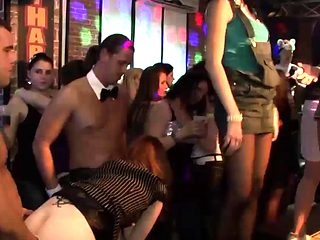 Incredible beauties get fucked at a party