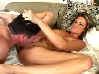 Stacked COUGAR Sunny Day Performs Sloppy Deepthroat Swallowing