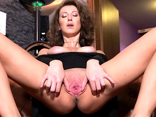 Frisky czech girl gapes her tight kitty to the unusual