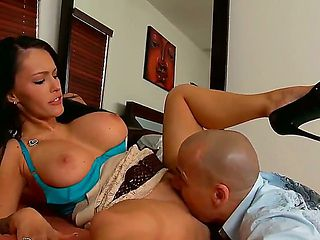 Jenna Presley with her sexy round boobs spreads her legs wide as she gets her pussy licked by hor...