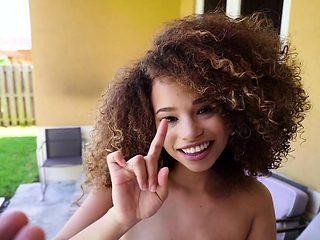 Curly haired natural ebony banged pov