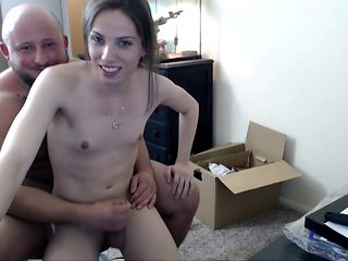 Cute Young Tranny Making Out With A Fat Guy