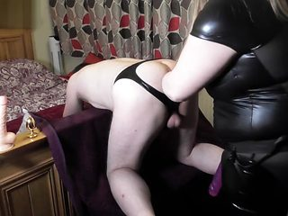 Pegging hubby deep in his sexy gaping ass with anal toys and 10 inch dildo