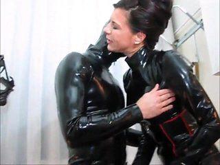 latex mistress handjob cum rubber slave cock