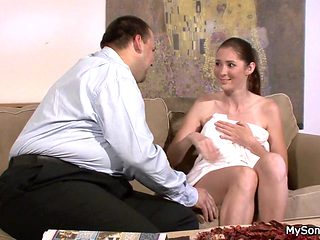 Cheating gf riding father-in-law cock
