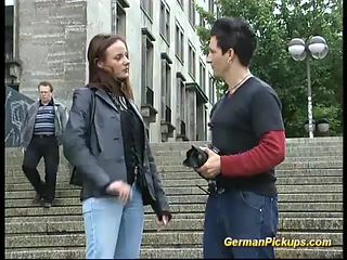 Cute german teen picked up in public for her first porn video tape