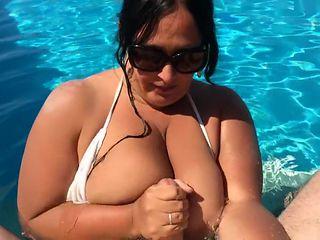 Bikini Blowjob Slut in the Swimming Pool - Private Blowjob Handjob - Fuck my Tits - Cum in my Mouth