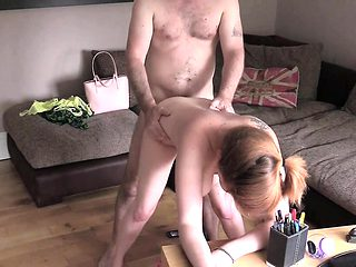 Redhed milf takes cock on interview