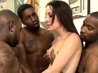 Marley Blaze asshole rammed by black men in many poses