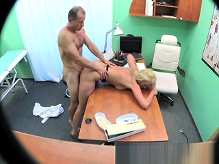 Sexy suspicious doctors wife has hot sex with him in office
