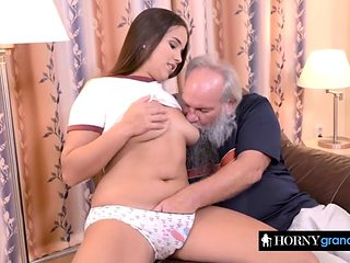 Nasty grandpah pounding young babe