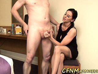 Cfnm hottie stroking dick