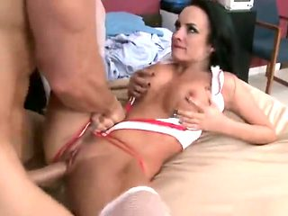 Comely buxomy nurse Alektra Blue performing in real medical XXX video