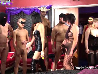 Four women put on a gangbang party for many lucky guys