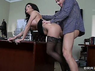 Slutty cock hungry dark haired milf Emily B with big firm tits dressed up as secretary from dream...